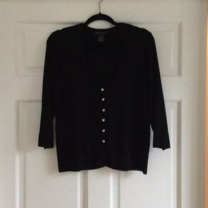 Dressy black cardigan sweater crystal buttons XL